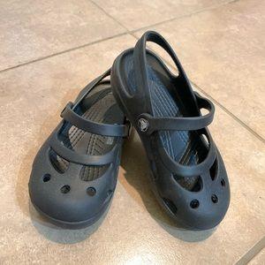 Black little girls CROCS sandals size 9 like new